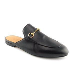 GUCCI Black Leather Horse Bit Loafer Mules 39.5